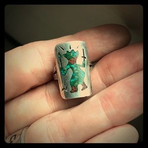 Silver & Turquoise Inlay Navajo Fire Dancer Ring